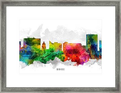 Boise Idaho Cityscape 12 Framed Print by Aged Pixel