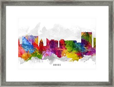 Boise Idaho Cityscape 13 Framed Print by Aged Pixel