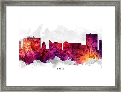 Boise Idaho Cityscape 14 Framed Print by Aged Pixel