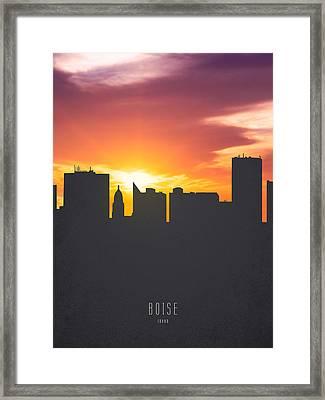 Boise Idaho Sunset Skyline 01 Framed Print by Aged Pixel
