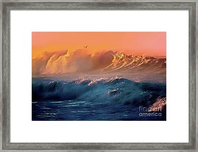 Boisterous Seas And Gull Framed Print