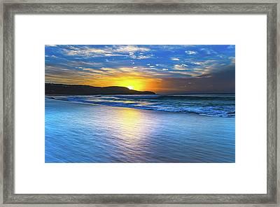 Bold And Blue Sunrise Seascape Framed Print