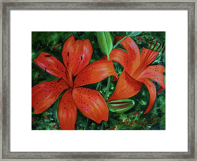 Framed Print featuring the painting Bold Blooms by Jan Swaren