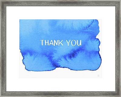 Bold Blue And White Watercolor Thank You- Art By Linda Woods Framed Print by Linda Woods
