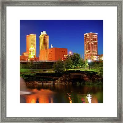 Bold Colors Of Tulsa Oklahoma Skyline Framed Print