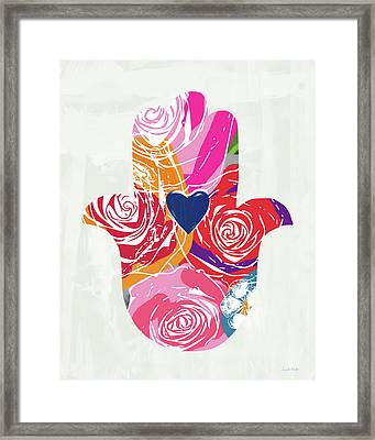 Bold Floral Hamsa- Art By Linda Woods Framed Print by Linda Woods
