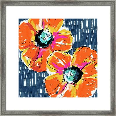 Bold Orange Poppies- Art By Linda Woods Framed Print by Linda Woods