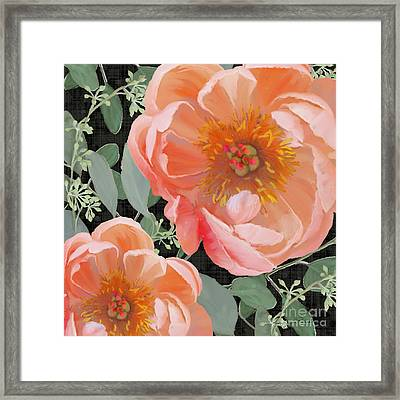 Framed Print featuring the painting Bold Peony Seeded Eucalyptus Leaves by Audrey Jeanne Roberts