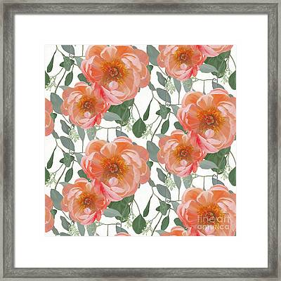 Bold Peony Seeded Eucalyptus Leaves Repeat Pattern Framed Print by Audrey Jeanne Roberts