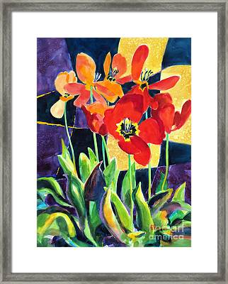 Bold Quilted Tulips Framed Print by Kathy Braud