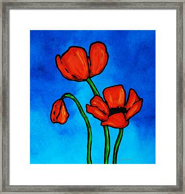 Bold Red Poppies - Colorful Flowers Art Framed Print