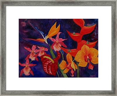 Framed Print featuring the painting Bold Tropical Flowers by Kerri Ligatich