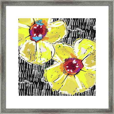 Framed Print featuring the mixed media Bold Yellow Poppies- Art By Linda Woods by Linda Woods