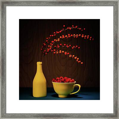 Bold Yellow With Raspberries Framed Print