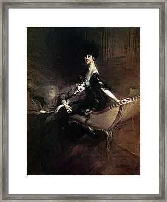 Boldini Giovanni Consuelo Duchess Of Marlborough With Her Son Ivor Spencer Churchill Framed Print
