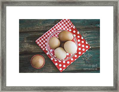 Bolied Eggs  On Wood Framed Print by Mythja Photography