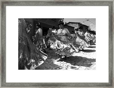 Bolivian Dance Black And White Framed Print