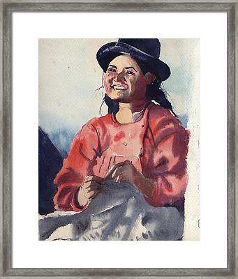 Bolivian Seamstress Framed Print
