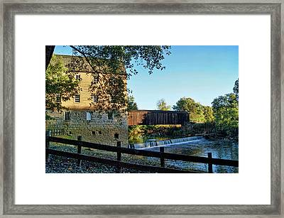 Framed Print featuring the photograph Bollinger Mill And Bridge by Cricket Hackmann