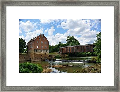 Bollinger Mill And Covered Bridge Framed Print by Marty Koch