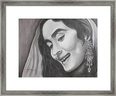 Bollywood Beauty Nutan Framed Print by Sneha Choudhary