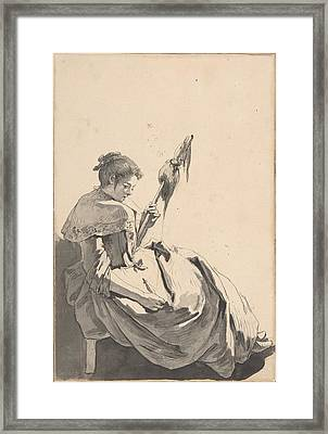 Bolognese Peasant Girl With A Distaff Framed Print by Jean Baptiste