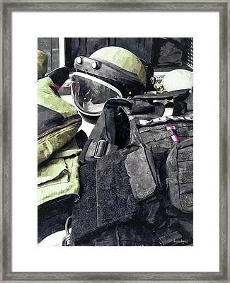 Bomb Squad Uniform Framed Print by Susan Savad