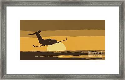 Bombardier Crj-200er Flying Sunset Framed Print