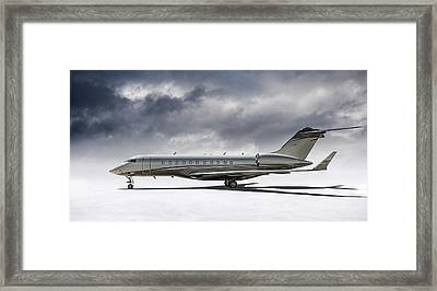 Framed Print featuring the digital art Bombardier Global 5000 by Douglas Pittman