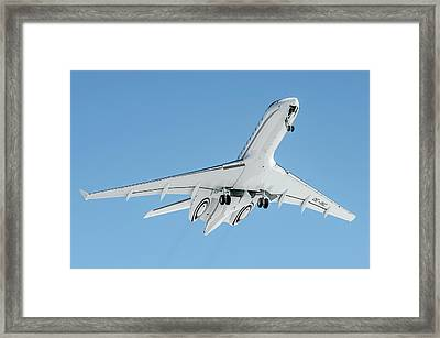 Bombardier Global 5000 Oe-inc Take Off From Engadin Framed Print by Roberto Chiartano