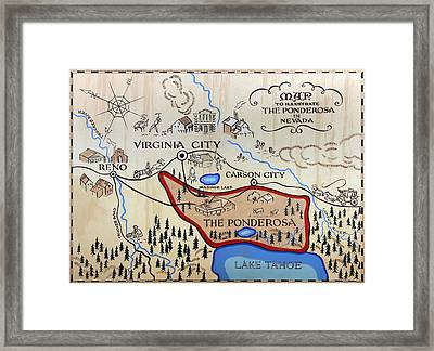 Bonanza Series Ponderosa Map  1959 Framed Print
