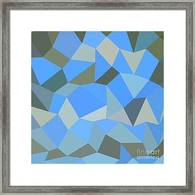 Bondi Blue Abstract Low Polygon Background Framed Print by Aloysius Patrimonio