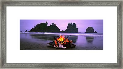 Bonfire On The Beach, Point Of The Framed Print by Panoramic Images