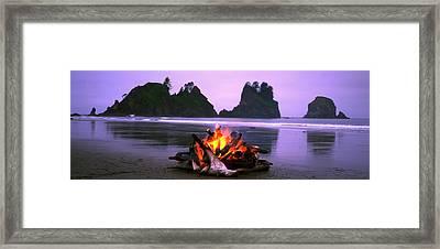 Bonfire On The Beach, Point Of The Framed Print