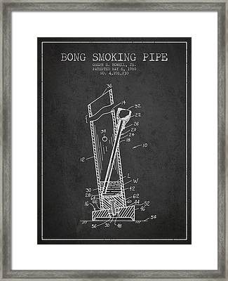 Bong Smoking Pipe Patent 1980 - Charcoal Framed Print by Aged Pixel