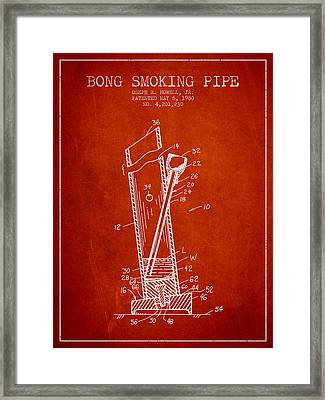 Bong Smoking Pipe Patent 1980 - Red Framed Print by Aged Pixel