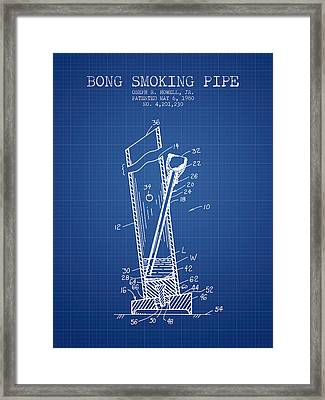 Bong Smoking Pipe Patent1980 - Blueprint Framed Print by Aged Pixel