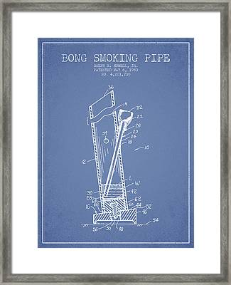 Bong Smoking Pipe Patent1980 - Light Blue Framed Print by Aged Pixel