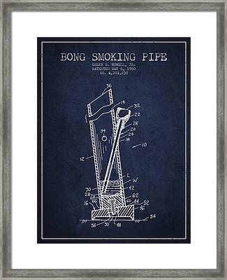 Bong Smoking Pipe Patent1980 - Navy Blue Framed Print by Aged Pixel