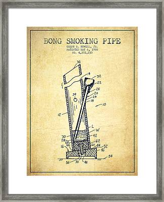 Bong Smoking Pipe Patent1980 - Vintage Framed Print by Aged Pixel