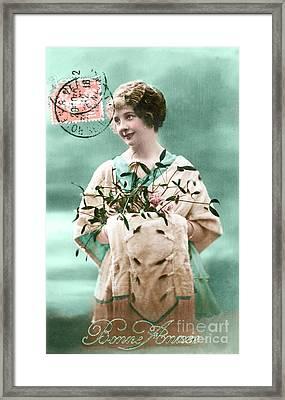 Bonne Annee Vintage Woman Framed Print