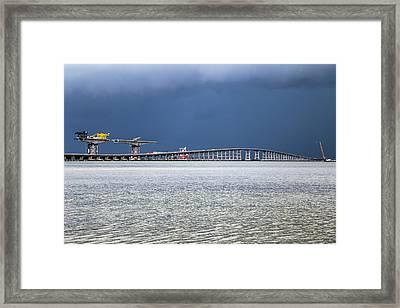 Framed Print featuring the photograph Bonner Bridge Replacement by Alan Raasch