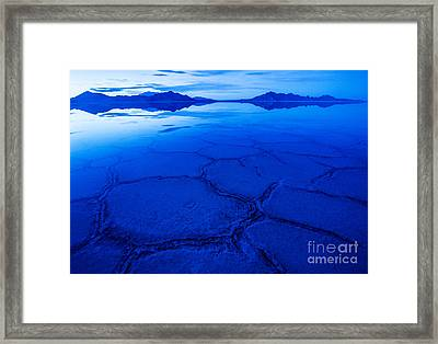 Bonneville Salt Flats In Winter - Utah Framed Print