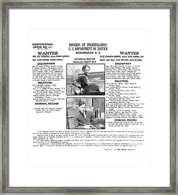 Bonnie And Clyde Wanted Poster Framed Print