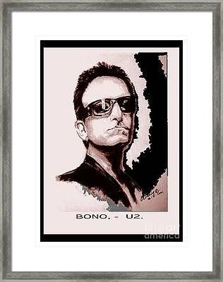 Bono U2 Framed Print by Liam O Conaire
