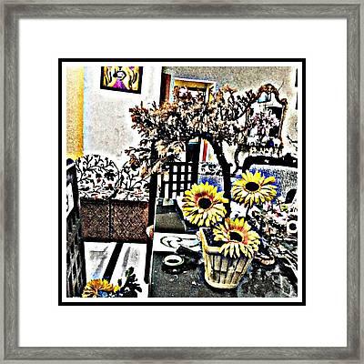 Bonsai And Sunflowers  Framed Print