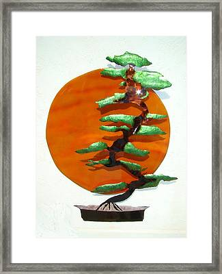 Bonsai At Sunset Framed Print
