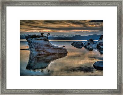 Bonsai Rock At Sunset Framed Print