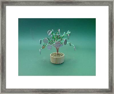 Bonsai Wire Tree Sculpture Beaded Money      Framed Print by Bujas Sinisa