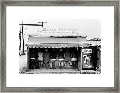Boo Koo 5 Cent Burger Joint - Texas 1939 Framed Print